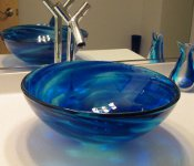 Blue water Glass Vessel Install