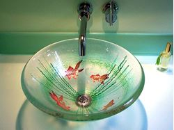 Goldfish Fused Glass Vessel Sink