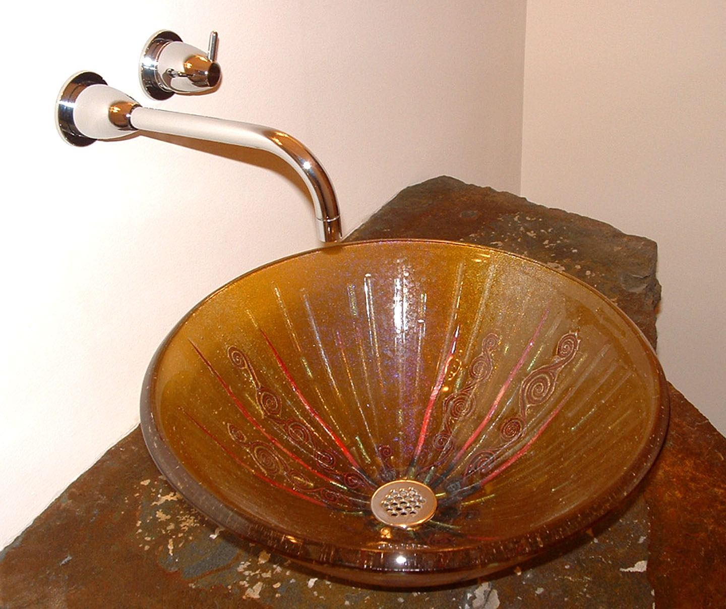 Picture of Amber Glass Vessel Sink With Copper Swirls