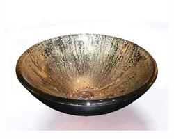 Gold and Black Glass Vessel Sink