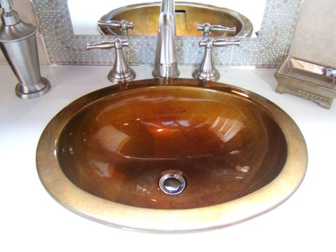 "16"" Oval Bronze Bath Sink"