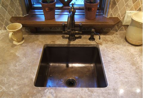 "15"" Square Bronze Bar Sink"