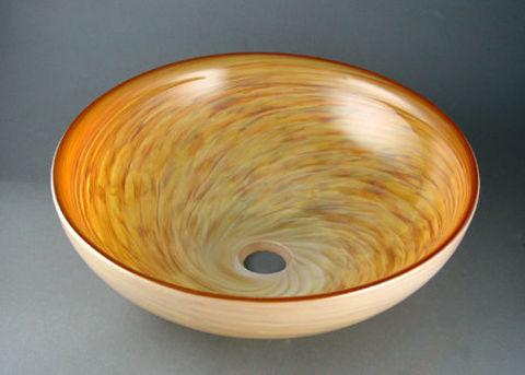 Blown Glass Sink - Alabaster Swirl