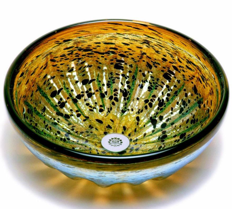 Blown Glass Sink   Tortoise Shell Rhapsody