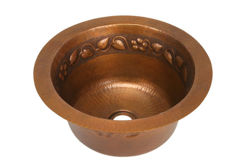 "Picture of 16"" Round Copper Bar Sink - Floral by SoLuna"