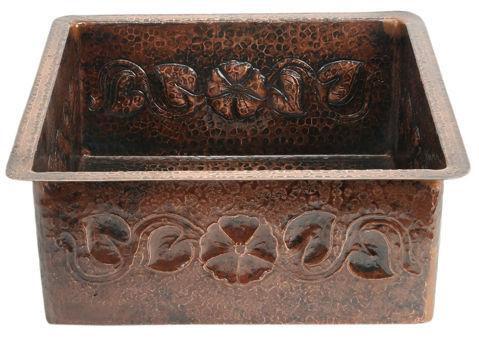 "18"" Square Copper Bar Sink - Floral by SoLuna"