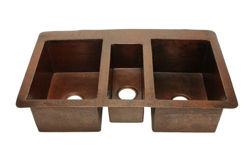 "42"" Triple Well Copper Kitchen Sink by SoLuna"