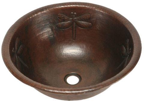 """17"""" Round Copper Bathroom Sink - Dragonfly by SoLuna"""