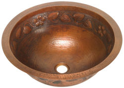 """Picture of 17"""" Round Copper Bathroom Sink - Floral by SoLuna"""