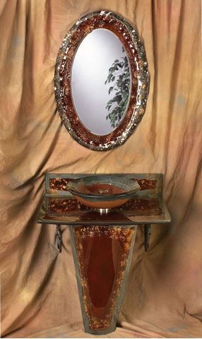 Copper Storm Vignette Bathroom Pedestal