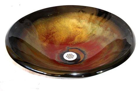 Tuscan Fire I Round Glass Vessel Sink