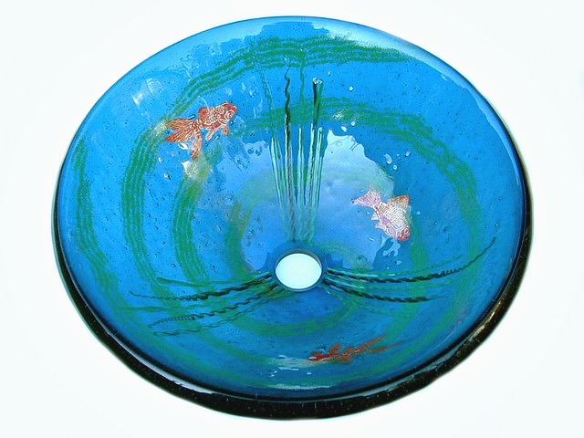 Picture of Goldfish Grey-Blue Glass Vessel Sink
