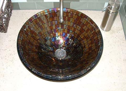 Coffee Mosaic Vessel Sink
