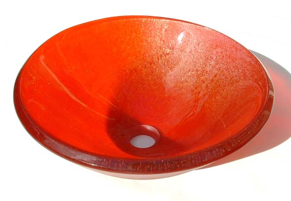 Picture of Transparent Orange Vessel Sink