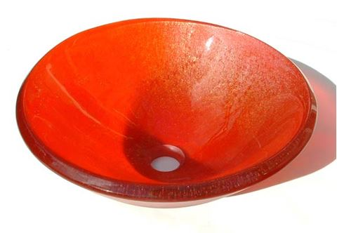 Transparent Orange Vessel Sink