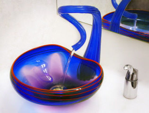 Blown Glass Sink   Cobalt with Red Lip