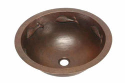 """Picture of 17"""" Round Copper Bathroom Sink - Pescado with Flat Rim by SoLuna"""