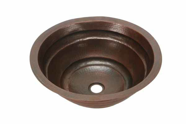 """Picture of 17"""" Round Copper Bathroom Sink - Rings by SoLuna"""