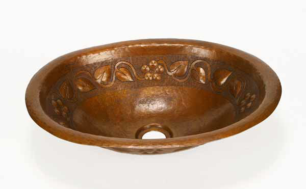 """Picture of 15"""" Oval Copper Bathroom Sink - Floral by SoLuna"""