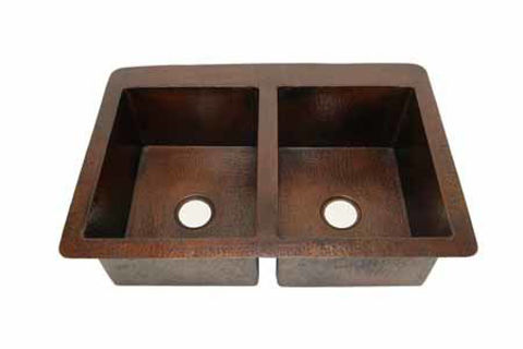 """42"""" Double Well Copper Kitchen Sink - 50/50 by SoLuna"""