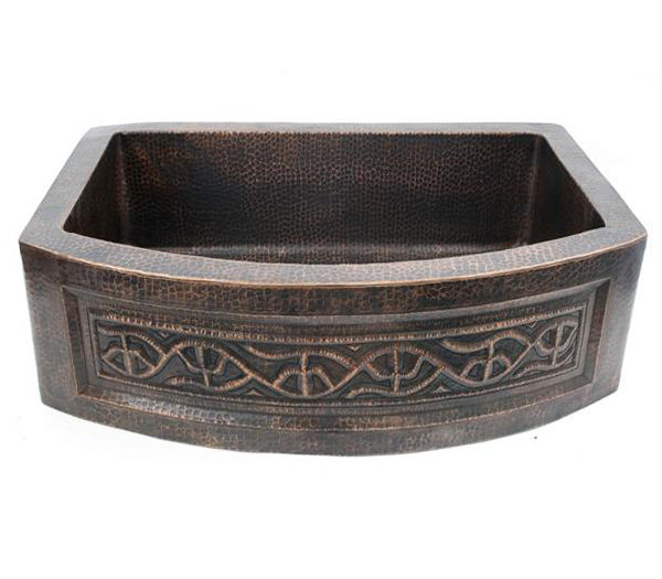 Picture of Rounded Front Copper Farmhouse Sink - Saguaro by SoLuna