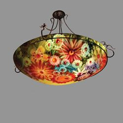 Picture of Rose Garden Reverse Hand-Painted Glass Chandelier