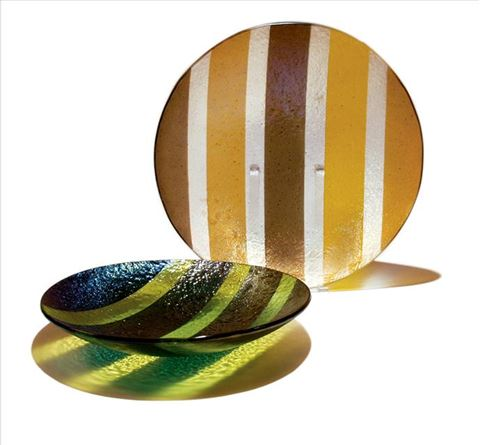 Green and Amber Line Bowls