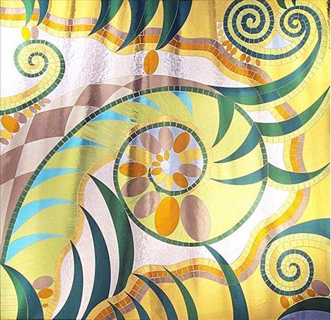 Mosaic Wall with Fern Design