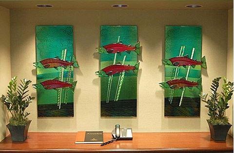 Sockeye Salmon Fused Glass Wall Panels