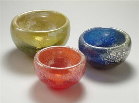 Blown Glass Double Wall Bowls - Silver Leaf