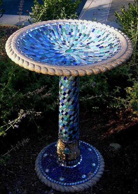 Picture of Alhambra Sky Handcrafted Mosaic Birdbath