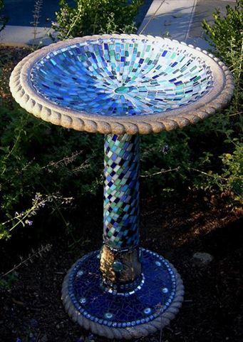 Alhambra Sky Handcrafted Mosaic Birdbath