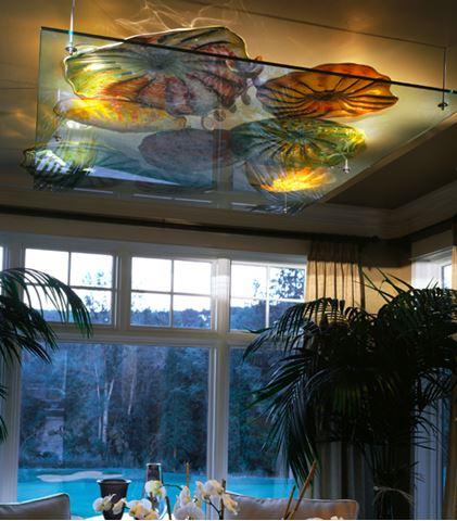Blown Glass Ceiling Light Sculpture