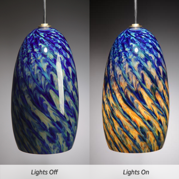 Picture of Blown Glass Pendant Light | Cobalt Iris