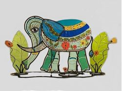 Bella Elephant Fused Glass Sculpture