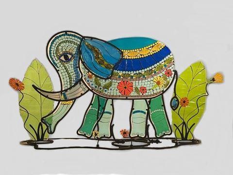 Bella Elephant Fused Glass Sculpture