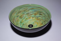Picture of Blown Glass Sink - Aqua Green Vortex