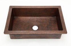 "Picture of 33"" Raised Rim Copper Kitchen Sink by SoLuna"