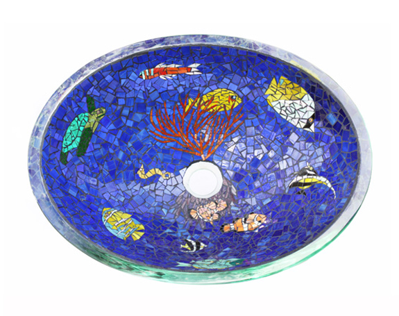 Picture of Tropical Paradise Mosaic Glass Sink