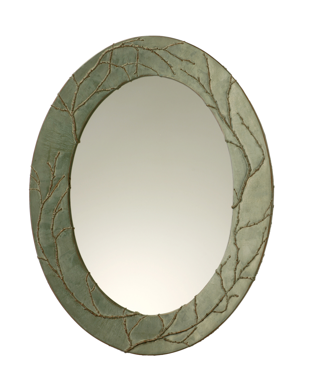 Picture of Plum Branch Handcrafted Oval Mirror