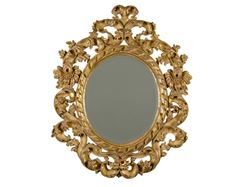 Hand-Carved Oval Gold Leaf Mirror