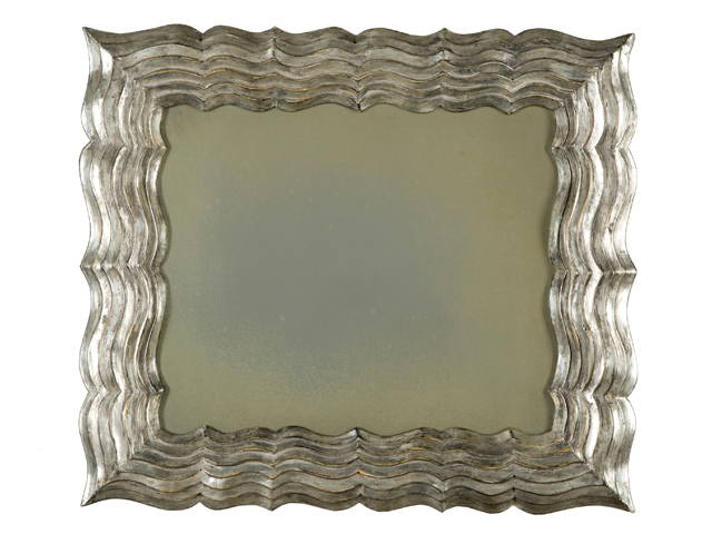 Picture of Hand-Carved Square Silver Leaf Mirror