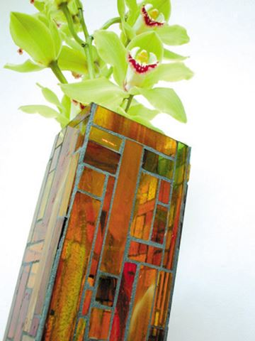 Autumn Handcrafted Glass Mosaic Vase