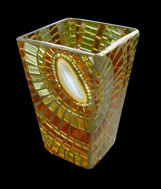 Picture of Agate and Glass Slice Handcrafted Mosaic Vase
