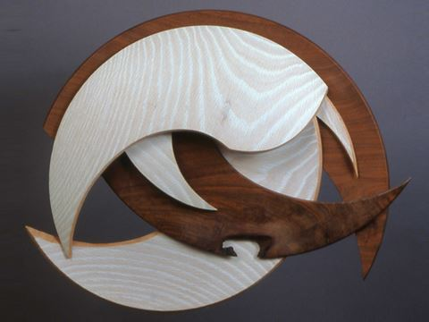 Oak and Walnut Wall Sculpture