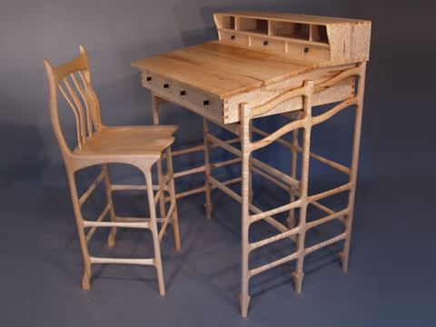 Stand Up Desk and Stool