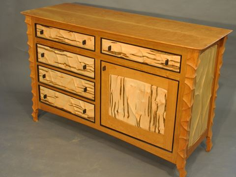 Sculpted Cherry and Maple Dresser