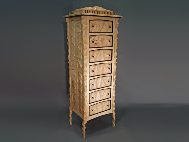 Picture of Seven Drawer Sculpted Case in Birdseye Maple