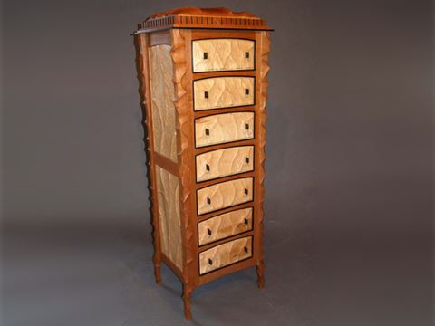 Seven Drawer Sculpted Case in Cherry