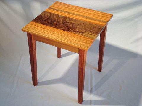 African Ribbon Mahogany and Figured Walnut Table